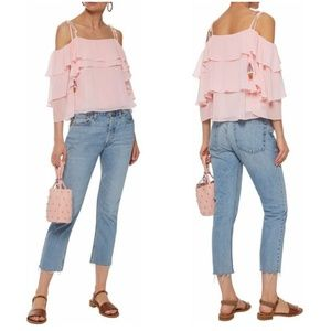 Rebecca Minkoff Cold Shoulder Ruffle Pink Top